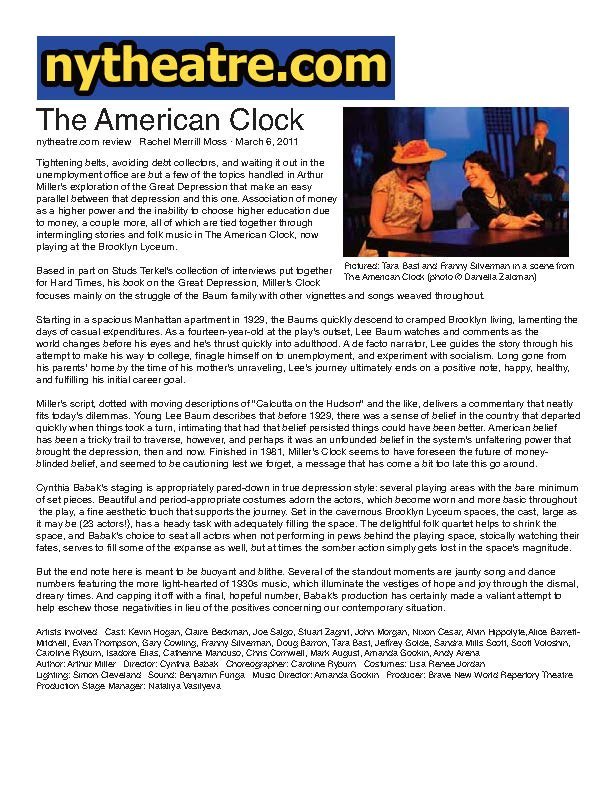NYTheatre.com - The American Clock